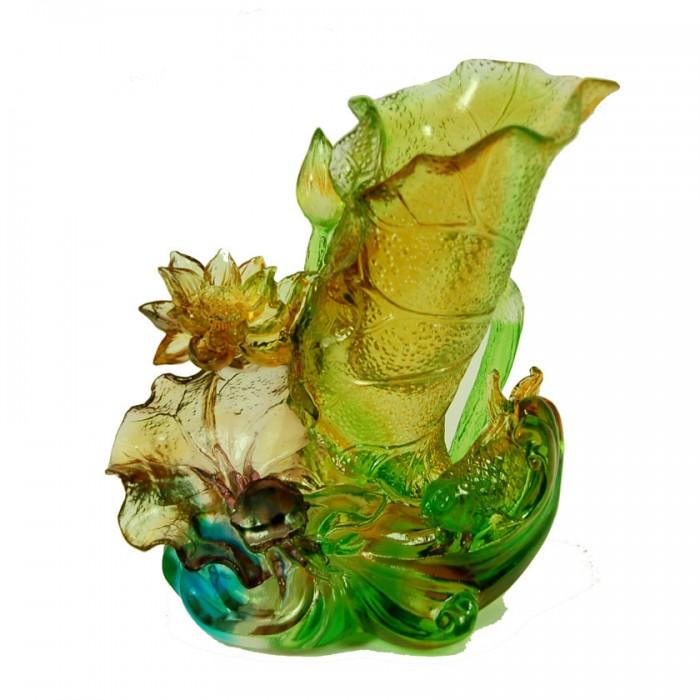 """Хрустальная фигурка """"Рыбки на волне"""", Лиу Ли, хрусталь из Китая, Китай"""
