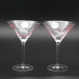 """Набор 2 бокала для мартини 240 мл с гравировкой """"Птицы"""""""
