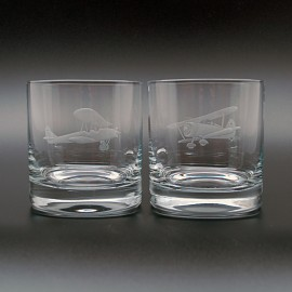 """Набор 2 стакана для виски 400 мл с гравировкой """"Самолеты"""""""