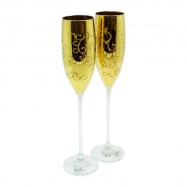 Набор 2 фужера для шампанского в подарочной коробке, золото, Eisch Glasskultur