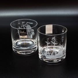 "Набор 2 стакана для виски 400 мл с гравировкой ""Парусники"""