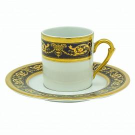 """Чашка мокко 100 мл с блюдцем, декор """"Селина - Империал Кобальт Голд"""", Falkenporzellan"""
