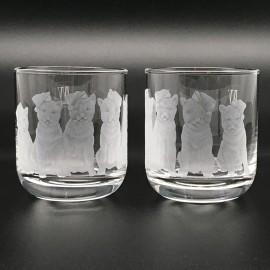 """Набор 2 стакана для виски 400 мл с гравировкой """"Собачки"""""""