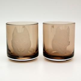 """Набор 2 стакана для виски 400 мл с гравировкой """"Хаски"""""""