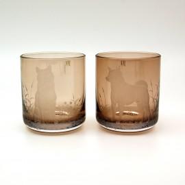 "Набор 2 стакана для виски 400 мл с гравировкой ""Сибу ину"""