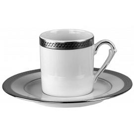 """Набор 6 чашек мокко с блюдцами, декор """"9160 Платин"""", Falkenporzellan"""