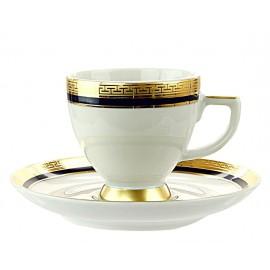 """Набор 6 чашек мокко с блюдцами, декор """"9030 Кобальт Голд"""", Falkenporzellan"""