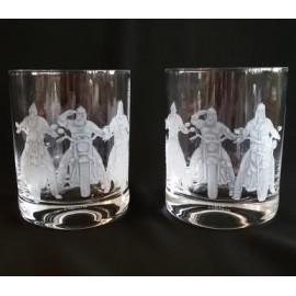 """Набор 2 стакана для виски 420 мл с гравировкой """"Мото-богатыри"""""""