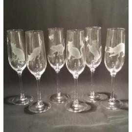 """Набор 6 фужеров для шампанского с гравировкой """"Кошки"""""""