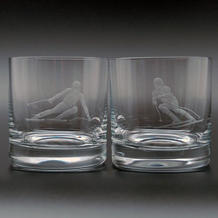 """Набор 2 стакана для виски 400 мл с гравировкой """"Лыжники"""""""