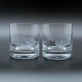 "Набор 2 стакана для виски 400 мл с гравировкой ""Ретро-автомобили"""