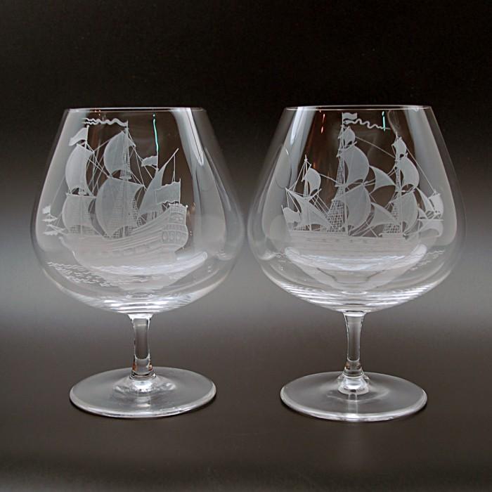 """Набор 2 бокала для коньяка 710 мл с гравировкой """"Парусники"""""""
